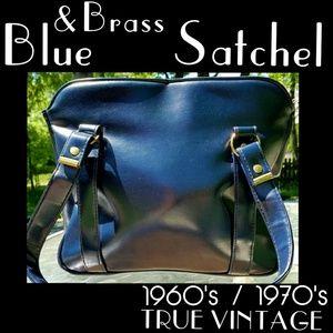 ▪VTG▪1960's|1970's  Peacock Blue & Brass Satchel